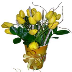 17 Adet Sarı Lale Çiçek