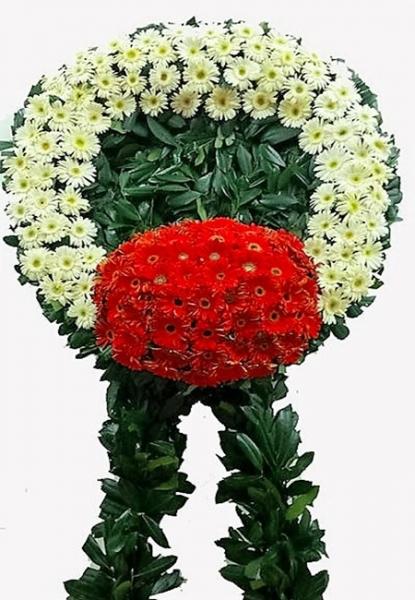 Lüks Cenaze Çelengi Kırmızı Beyaz